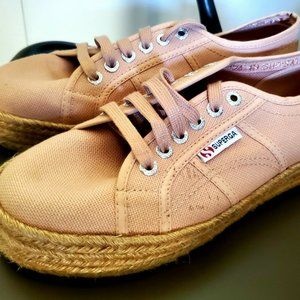 Superga Pink Beach Tennis Shoes With Raffia Sole